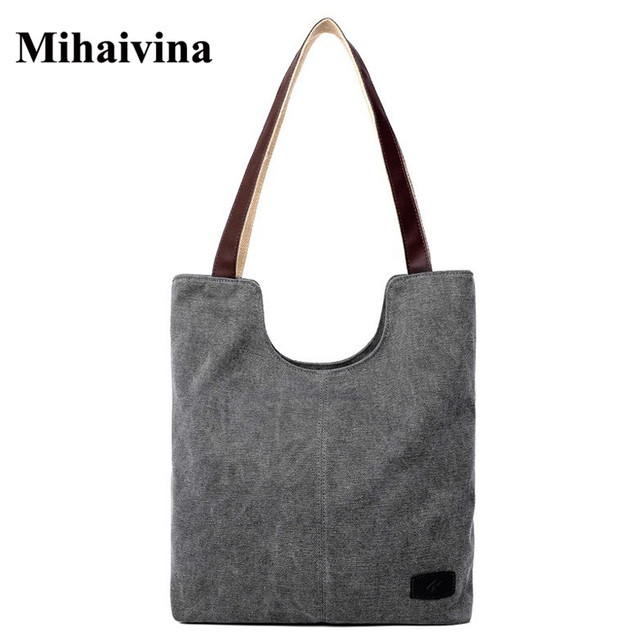 2017 New Lady Single Large Capacity Cloth Bag Simple Shoulder Bag Women  Messenger Bags Beach Big Shopper Canvas Hand Tote Bags dde99689191b