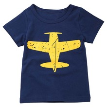 Low Price Clearance Kids Baby Boys T Shirt Airplane Print Tees Top Aircraft Printing Summer Clothes Soft Cotton Blue