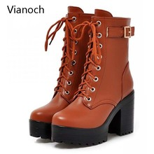 Vianoch Fashion New Womens Boots Mid Calf Platform Pumps Lace Up High Heels Shoes Size 40 41 42 43 wo180894