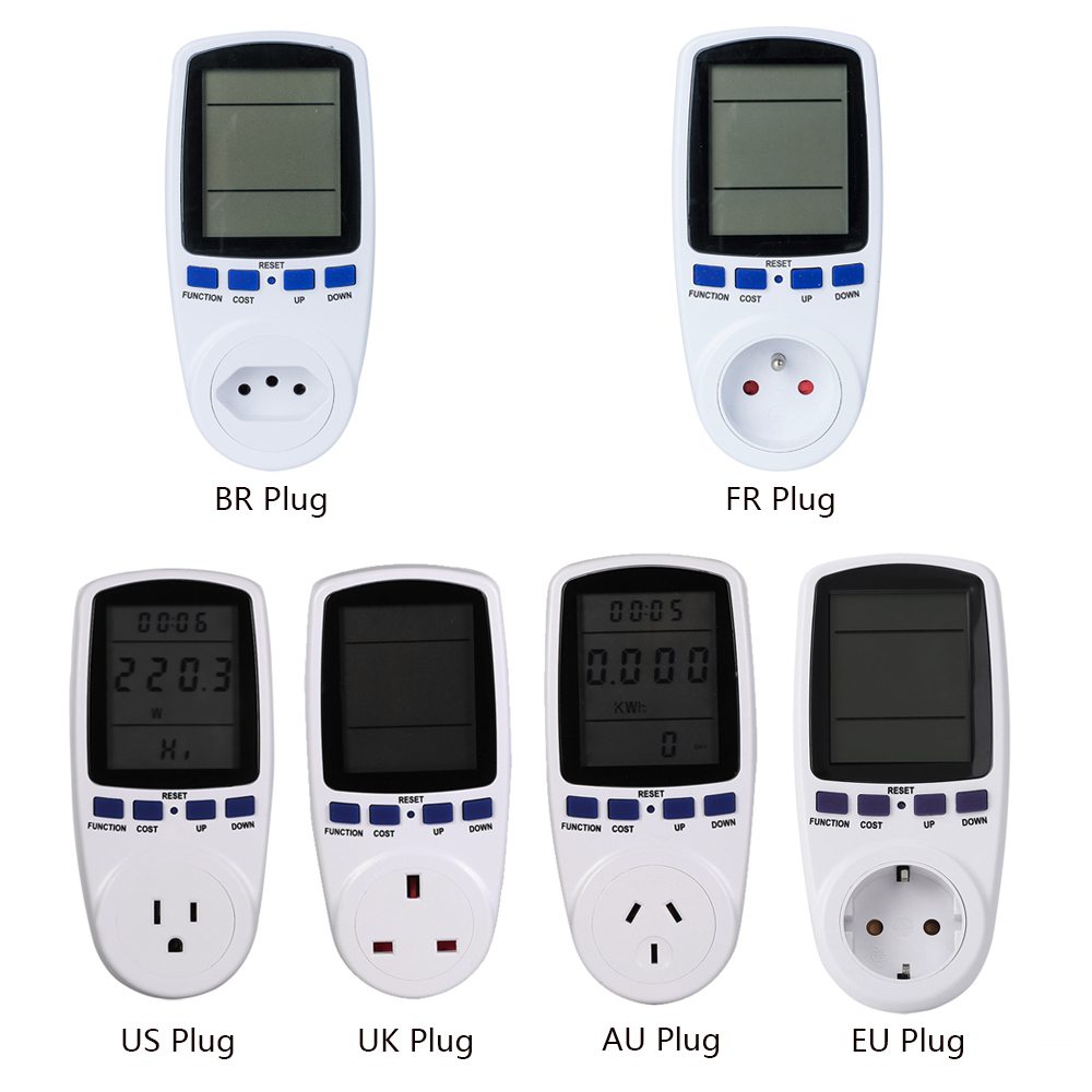 Digital Wattmet Power Meter Energy Meter Voltage Wattmeter Power Analyzer Electronic Energy Meter Measuring Outlet Socket