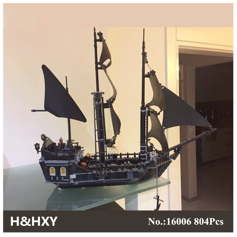 DHL H&HXY 804Pcs 16006 Pirates Of The Caribbean The Black Pearl Ship LEPIN Model Building Kit Blocks BricksToy Compatible 4184 lepin 16006 804pcs building bricks blocks pirates of the caribbean the black pearl ship legoing 4184 toys for children gift