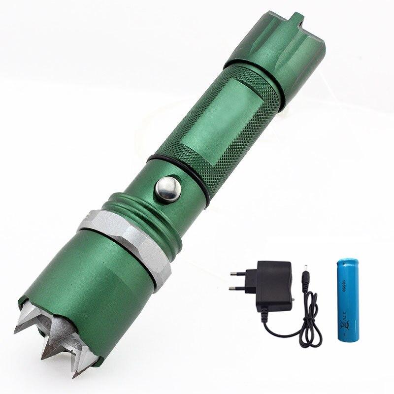 Xpe Q5 lampe de Poche Auto-Défense Led Flash Light Rechargeable Tactique de Chasse de La Lampe D'urgence Défensive 18650 Batterie Chargeur