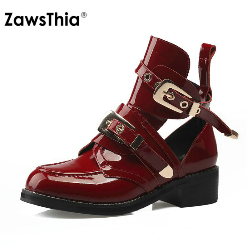 ZawsThia luxury brand genuine leather fashion cut out woman ankle boots women chunky low heels martin boots with metal buckle red cut out low waisted panties