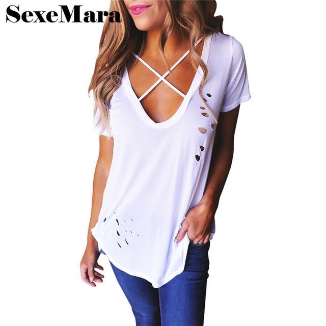 2017 Summer Cool T Shirt Women Basic V-neck Short Sleeve Hole Punk Casual Tunics Plus Size White Cotton Women Tops D41-I06