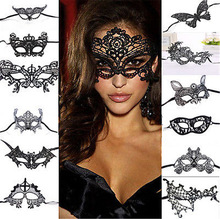 цены 1PCS Black Women Sexy Lace Eye Mask Party Masks For Masquerade Halloween Venetian Costumes Carnival Mask For Anonymous Mardi