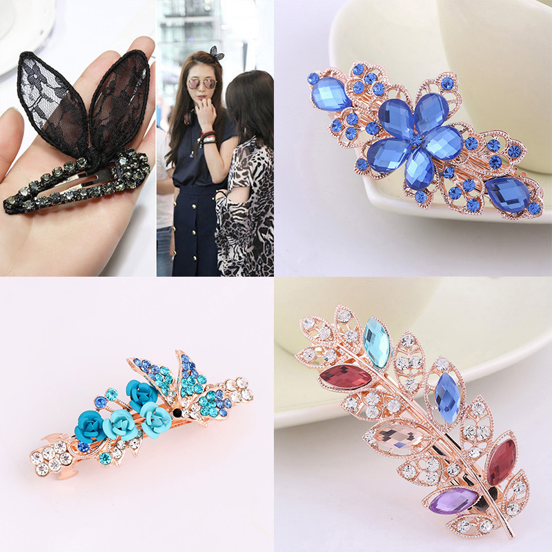 1Pc Flower Shinning Rhinestone hair clips for girls Female MIX Style   Headwear   Barrette Hairgrips Hair Ornament Accessories Women
