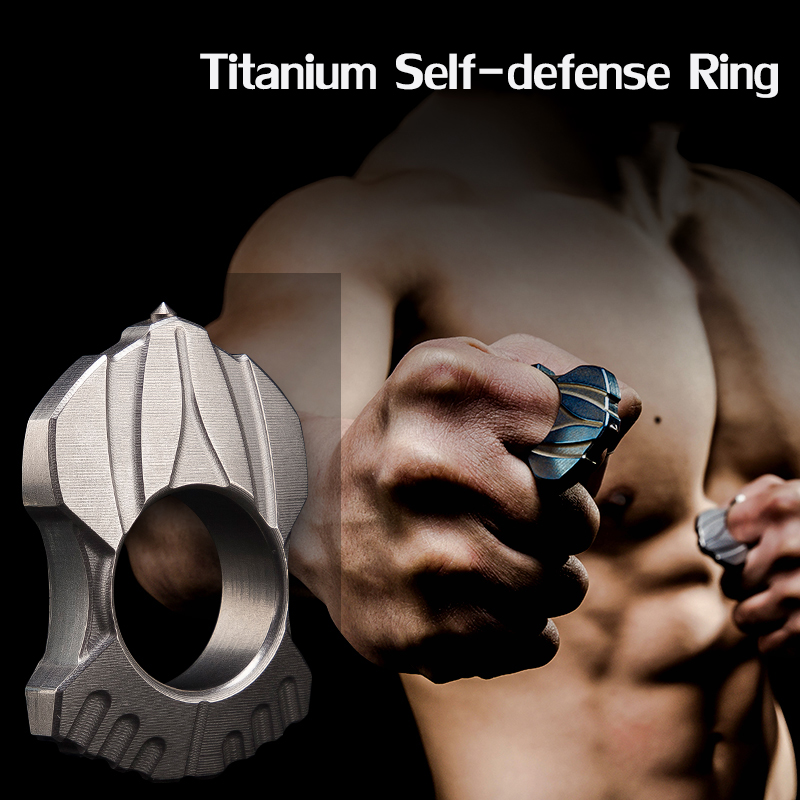 3 Colors Women Men Safety Survival Ring Tool EDC Self Defense Titanium Ring Finger Defense Keychain Neckalace Camping Multi Tool