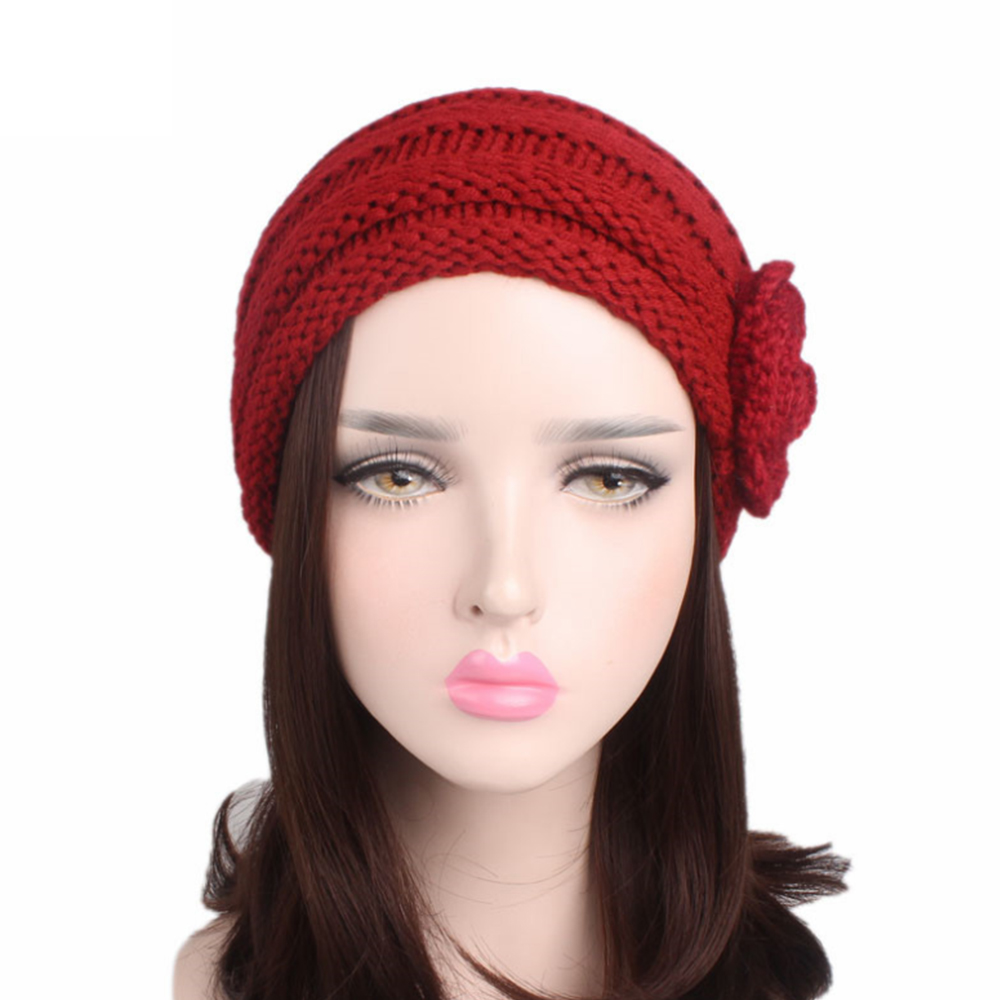 754a3c2cada Girl Stretch Knitted Hat Women `s Winter Warm Casual cap Side  three-dimensional handmade flower ear protection cap
