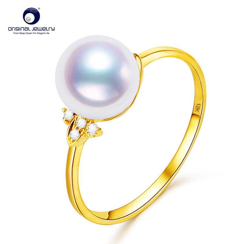 YS 8 5 9mm Genuine White Akoya Pearl Simple Designed Engagement Ring Presale