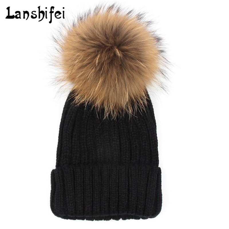Women Knitted Wool Hat Winter Natural Raccoon Fur Warm Caps Female Pom Pom Hats Ladies Fashion Skullies Beanies Cap wuhaobo the new arrival of the cashmere knitting wool ladies hat winter warm fashion cap silver flower diamond women caps
