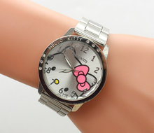 1 unids/lote nuevo hello kitty reloj con seis taladro para los niños del cabrito chica señora free shipping