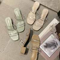 Toe Med Slippers Summer Ladies Female Modis Pvc Clear Slides Outside New 2019 Chunky Heel Low Rubber Leather Peep Sandal Spring
