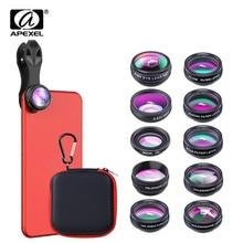 APEXEL 5 sztuk/partia 10in1 lPhone obiektyw aparatu obiektyw typu rybie oko obiektyw makro soczewka powiększająca CPL/przepływu/gwiazda/kalejdoskop dla iPhone 6 7 8 plus x