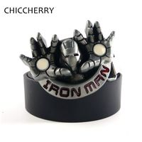Cool Iron Man Belt Buckles Black PU Leather Male Girdle Homem De Ferro Cinto Masculino Fivela