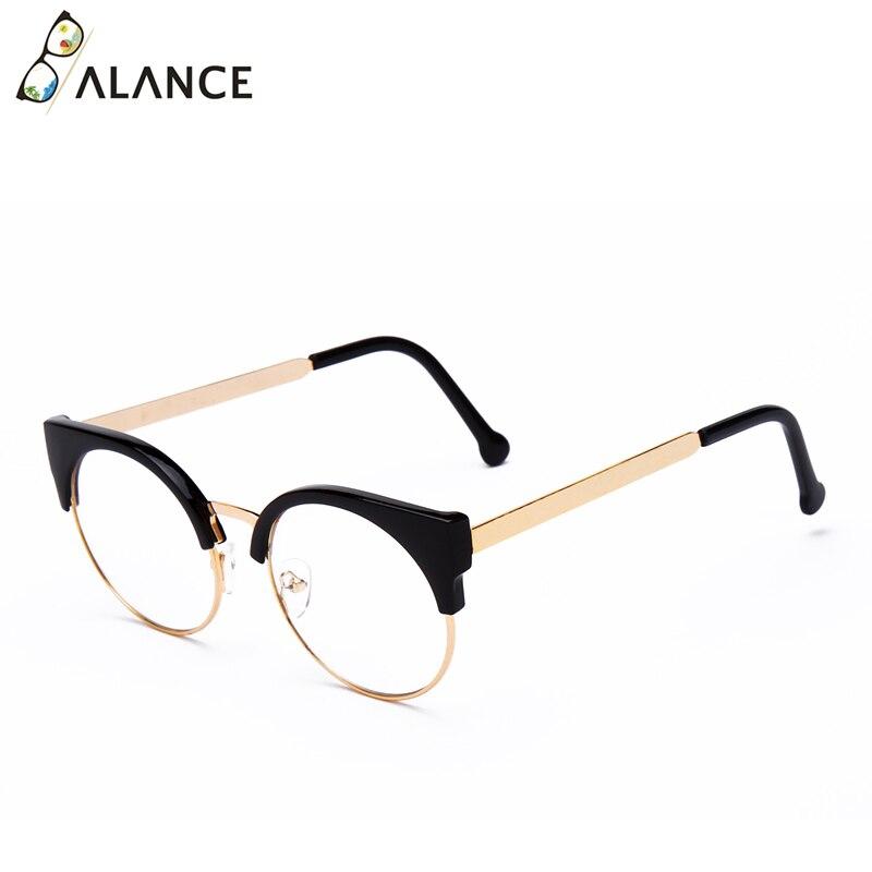 Женские простые очки кошачий глаз, полуоправа, прозрачные линзы, круглые очки, сексуальные винтажные очки кошачий глаз, оправа, брендовые дизайнерские очки - Цвет оправы: Bright black