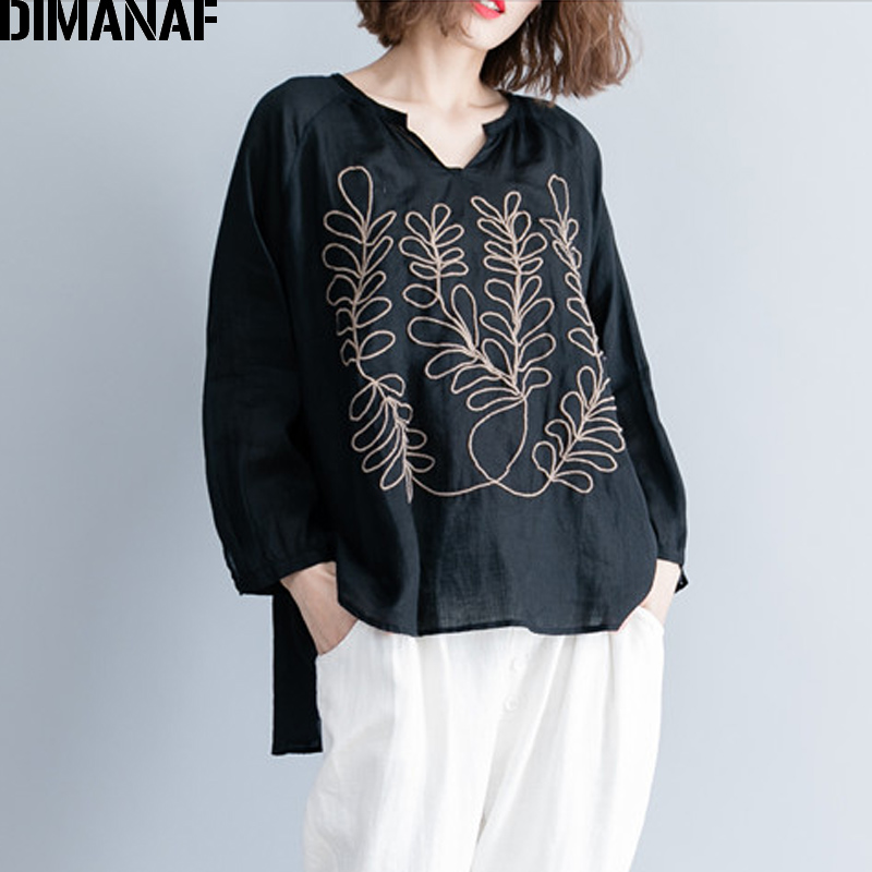 DIMANAF Women   Blouse     Shirts   Autumn Plus Size Vintage Black Embroidery Female Loose Casual Cotton Linen Tops Large Clothing 2018