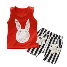 New Summer Female Children Cartoon Rabbit Suit Collar coll Foreign Trade Letters Sleeveless vest Baby Boy And Girl Short(China)