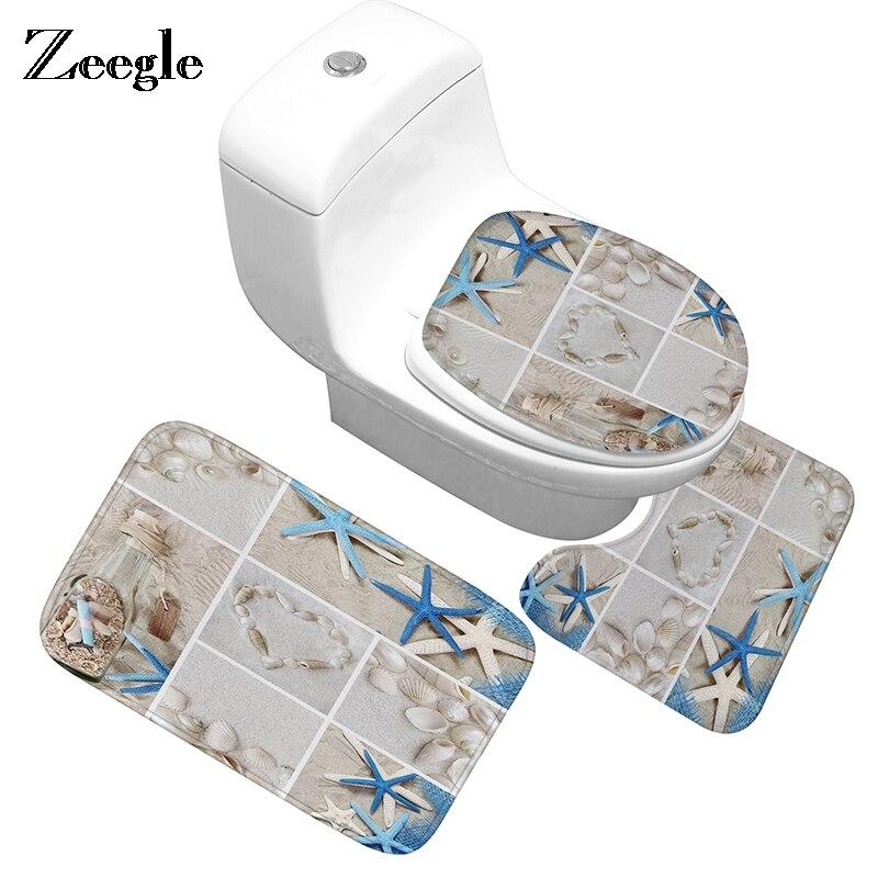 Zeegle Beach Pattern Bathroom Mat Flannel Fabric Cover Rug