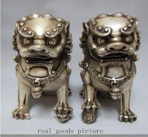 Rare Chinese Silver Guardian Lion Foo Fu Dog Statue Pair 12cm HighRare Chinese Silver Guardian Lion Foo Fu Dog Statue Pair 12cm High