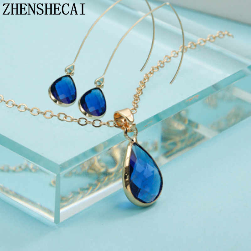 Crystal Pendant Necklace For Women earrings water drop design Korea simple Wedding party Jewelry gift  for girls