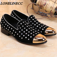 2016 Summer New Gold Metal Toe Studded Loafers Mens Crystal Creeper Slippers Pure Handmade Flats Lazy