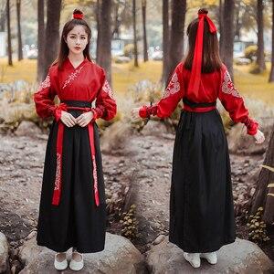 Image 2 - Женский этнический костюм, сказочное платье династии Тан, старинные костюмы для сценического китайского фолк, Одежда для танцев, классический в стиле ханьфу, платье