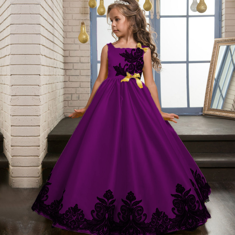 new Flower Teenagers Kids Evening Party Dresses For Girl Wedding ...