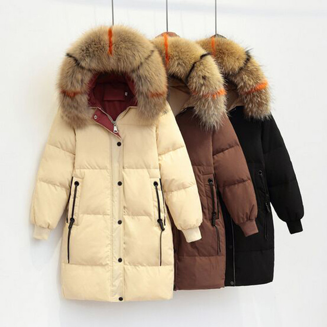 Large Real Natural Raccoon Fur 2018 Winter Jacket Women Parkas New Fashion Female Women Coat White Duck Down Jacket Hooded