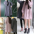 2017 новый прибыл осень зима вельвет Vintage dress женщины Упругие талии небольшой высокий воротник dress женский harajuku мини платья