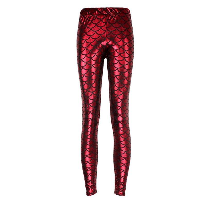 Leggings brillantes de 12 colores con escamas de pescado de sirena de cintura alta para mujer 8A03