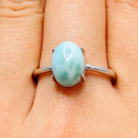 925 Silver Larimar Ring Oval Natural Blue Larimar Stone Original S925 Sterling Silver Rings for Women Jewelry