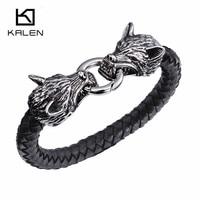 Kalen Punk Double Wolf Head Charm Bracelet For Men Stainless Steel Animal wolf Braided Leather Bracelet Homme Rock Jewelry 2017