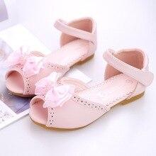 Лук бой принцессы сандалии 2018 летние новые сандалии для девочек Детская на квадратном каблуке Модная обувь с открытым носком кожаные туфли принцессы