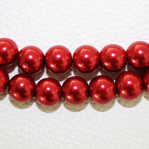 8 мм 30 шт белый черный зеленый фиолетовый Круглые Стеклянные Перламутровые Бусины много цветов на выбор PS-BBD012 - Цвет: DK Red