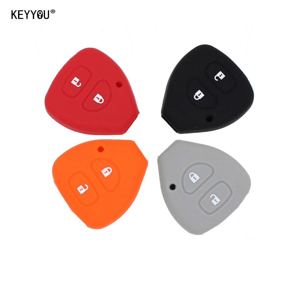 KEYYOU 2 Buttons Silicone Key Case Shell Cover For TOYOTA Corolla Hilux Vitz Rav4 Aqua Camry new 2 buttons 3 buttons modified flip folding remote key case shell for toyota camry corolla reiz rav4 crown key fob cover