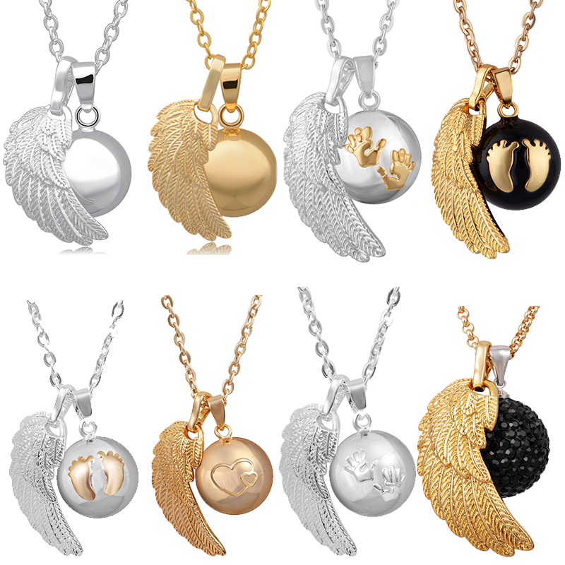 Eudora Angel Caller Necklace Fashion Pregnancy Jewelry Copper Metal Chime Bola With angel wing pendant FN14-MIX