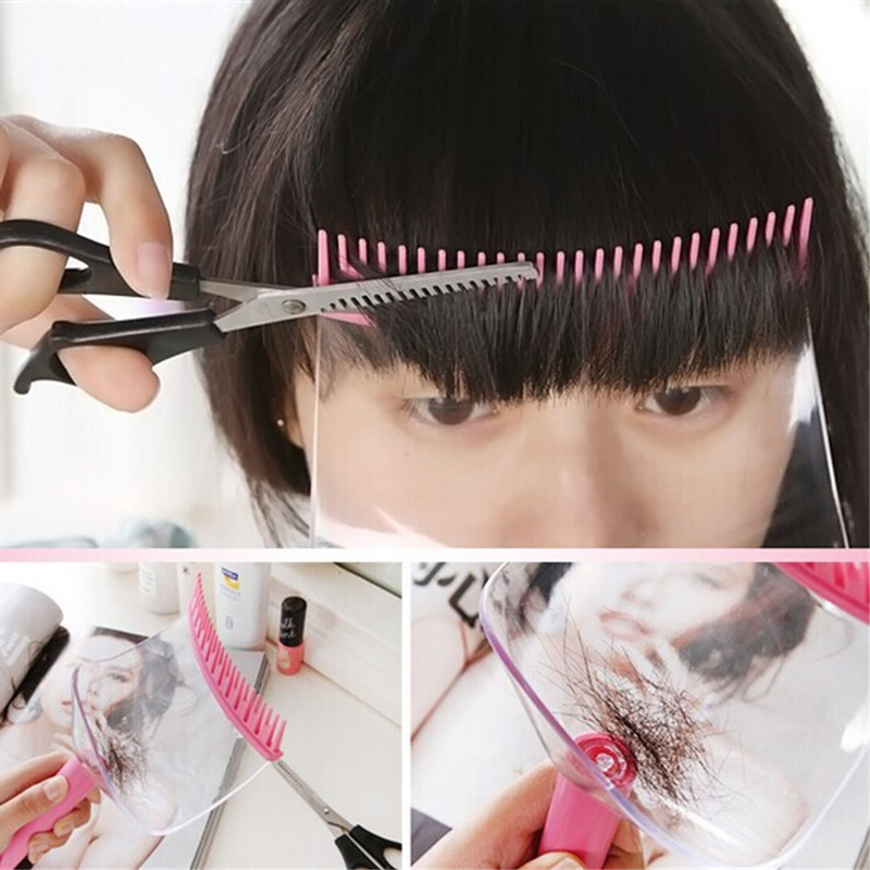 Women Hair Trimmer Fringe Cut Tool Bangs Comb Hair Cutting DIY Hairstyle 2 In 1 Hair Cutting Clippers Trimmer Supporter