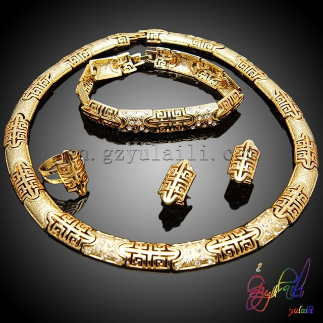 Alibaba best selling jewelry set nigeria costume necklace jewelry brazilian gold plated jewelry wholesale
