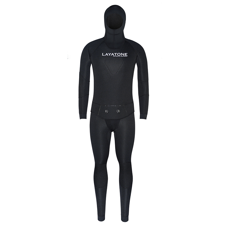 Layatone Wetsuit Men 7mm Neoprene Diving Spearfishing Suit Two Piece Hooded Water Underwater Hunting Fishing Scuba