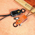 Fast charger Western USB 3.0 cable Remax Genuine Leather Lanyard metal Key chain data sync line for iPhone 5/6/6s/SE/Samsung