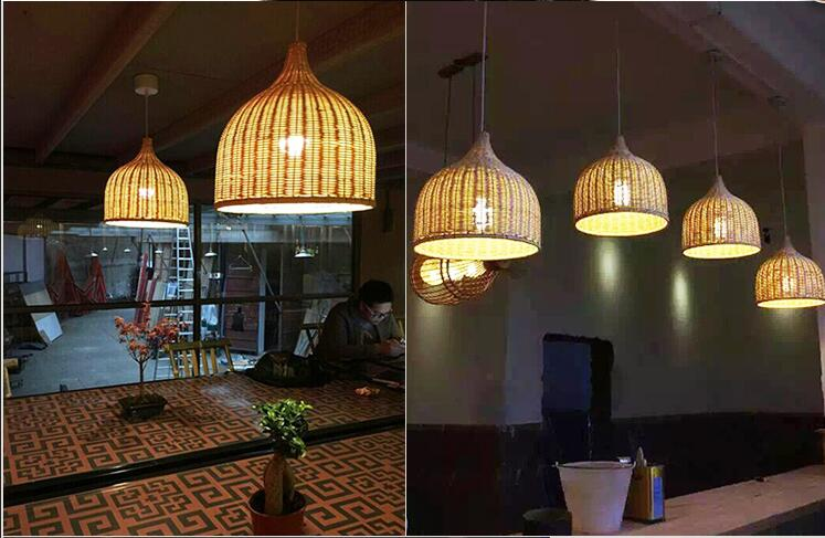 Ems Free Shiiping Newest Rustic Rattan Restaurant Lamp