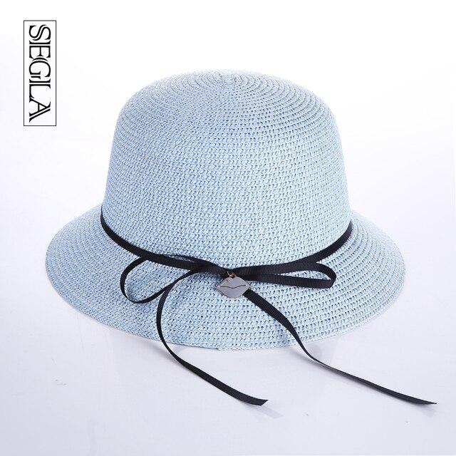 SEGLA Verano Playa Mujeres Sombrero de Ala Ancha Anti-Ultravioleta Del Sol Sombrero Bowknot de la cinta Sexy Labios Encanto Chapue Panamá Fedora Paja Ocasional sombreros