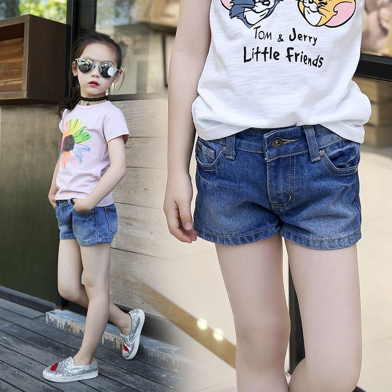 New Summer Girls Denim Shorts Fashion Solid Cowboy Short Pants Big Kids Children Summer Hot Trousers
