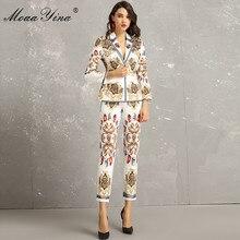 MoaaYina ファッションデザイナーセット春秋のレディースロングスリーブヴィンテージプリントエレガントなスーツトップス + 3/4 鉛筆のズボン 2 ピーススーツ