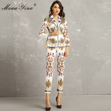 MoaaYina Fashion Designer Set Lente Herfst Vrouwen Lange Mouwen Vintage Gedrukt Elegante Pak Tops + 3/4 Potlood broek Twee  stuk pak