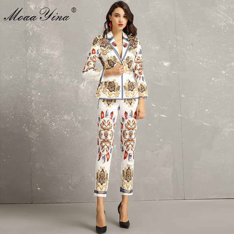 MoaaYina Fashion Designer Set Spring Autumn Women Long Sleeve Vintage Printed Elegant Suit Tops+3/4 Pencil Pants Two-piece Suit