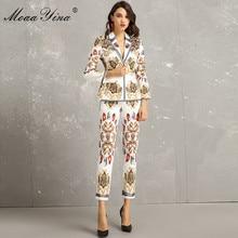 MoaaYina Fashion Designer Set wiosna jesień kobiety z długim rękawem nadruk w stylu vintage elegancki garnitur topy + 3/4 ołówek spodnie dwuczęściowy garnitur