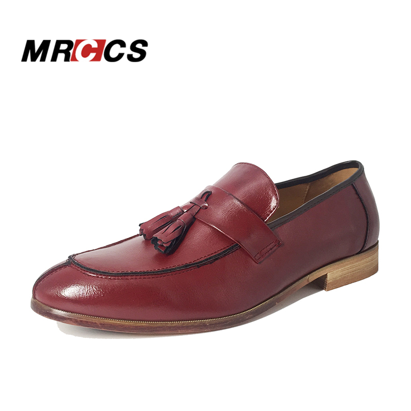 MRCCS Vintage Tassel Pointed Loafer Shoes,British Style Leather Brogue Leather Shoe,Men's Fashion Casual Oxford Shoe Red/Brown цена 2017