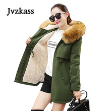 Jvzkass 2019 plus size new students big fur collar thick padded cotton long winter coat lamb Z55