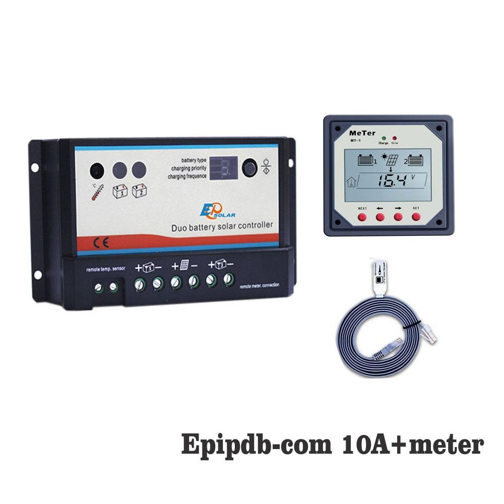 10A 20A 12 V 24 V EP EPIPDB-COM Double DUO deux Batterie Solaire régulateur de charge Régulateurs en option MT-1 MT1 Mètre